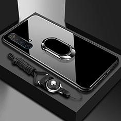 Silikon Schutzhülle Rahmen Tasche Hülle Spiegel mit Magnetisch Fingerring Ständer für Realme X50m 5G Schwarz