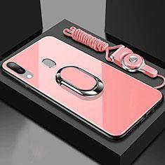 Silikon Schutzhülle Rahmen Tasche Hülle Spiegel mit Magnetisch Fingerring Ständer für Samsung Galaxy A30 Rosegold