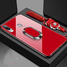 Silikon Schutzhülle Rahmen Tasche Hülle Spiegel mit Magnetisch Fingerring Ständer für Samsung Galaxy A30 Rot