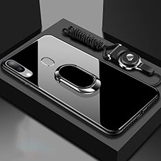 Silikon Schutzhülle Rahmen Tasche Hülle Spiegel mit Magnetisch Fingerring Ständer für Samsung Galaxy A30 Schwarz