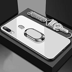 Silikon Schutzhülle Rahmen Tasche Hülle Spiegel mit Magnetisch Fingerring Ständer für Samsung Galaxy A30 Weiß