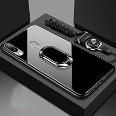 Silikon Schutzhülle Rahmen Tasche Hülle Spiegel mit Magnetisch Fingerring Ständer für Samsung Galaxy A40 Schwarz