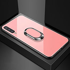 Silikon Schutzhülle Rahmen Tasche Hülle Spiegel mit Magnetisch Fingerring Ständer für Samsung Galaxy A70 Rosegold