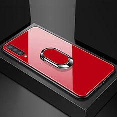 Silikon Schutzhülle Rahmen Tasche Hülle Spiegel mit Magnetisch Fingerring Ständer für Samsung Galaxy A70 Rot