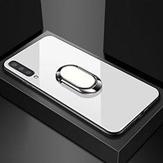 Silikon Schutzhülle Rahmen Tasche Hülle Spiegel mit Magnetisch Fingerring Ständer für Samsung Galaxy A70 Weiß