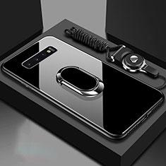Silikon Schutzhülle Rahmen Tasche Hülle Spiegel mit Magnetisch Fingerring Ständer für Samsung Galaxy S10 5G Schwarz