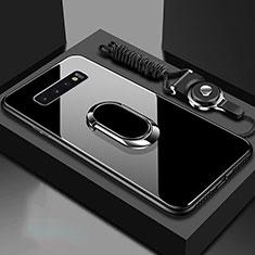 Silikon Schutzhülle Rahmen Tasche Hülle Spiegel mit Magnetisch Fingerring Ständer für Samsung Galaxy S10 Schwarz