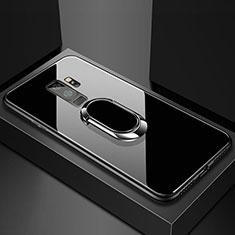 Silikon Schutzhülle Rahmen Tasche Hülle Spiegel mit Magnetisch Fingerring Ständer für Samsung Galaxy S9 Plus Schwarz