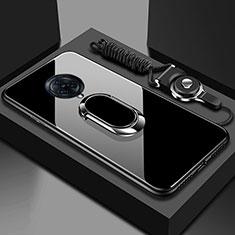 Silikon Schutzhülle Rahmen Tasche Hülle Spiegel mit Magnetisch Fingerring Ständer für Vivo Nex 3 Schwarz