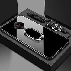 Silikon Schutzhülle Rahmen Tasche Hülle Spiegel mit Magnetisch Fingerring Ständer für Vivo X50 Lite Schwarz