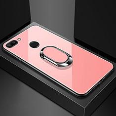 Silikon Schutzhülle Rahmen Tasche Hülle Spiegel mit Magnetisch Fingerring Ständer für Xiaomi Mi 8 Lite Rosegold