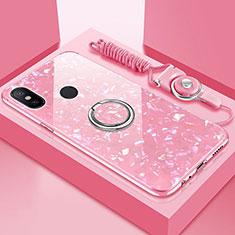 Silikon Schutzhülle Rahmen Tasche Hülle Spiegel mit Magnetisch Fingerring Ständer für Xiaomi Mi A2 Lite Rosa