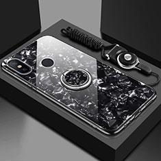 Silikon Schutzhülle Rahmen Tasche Hülle Spiegel mit Magnetisch Fingerring Ständer für Xiaomi Mi A2 Lite Schwarz