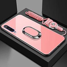 Silikon Schutzhülle Rahmen Tasche Hülle Spiegel mit Magnetisch Fingerring Ständer für Xiaomi Mi A3 Rosegold