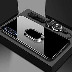 Silikon Schutzhülle Rahmen Tasche Hülle Spiegel mit Magnetisch Fingerring Ständer für Xiaomi Mi A3 Schwarz