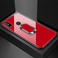 Silikon Schutzhülle Rahmen Tasche Hülle Spiegel mit Magnetisch Fingerring Ständer für Xiaomi Mi Max 3 Rot