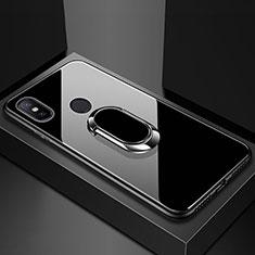 Silikon Schutzhülle Rahmen Tasche Hülle Spiegel mit Magnetisch Fingerring Ständer für Xiaomi Mi Max 3 Schwarz