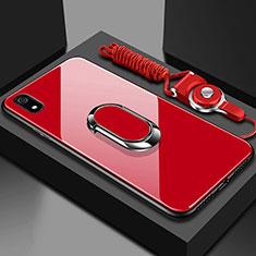 Silikon Schutzhülle Rahmen Tasche Hülle Spiegel mit Magnetisch Fingerring Ständer für Xiaomi Redmi 7A Rot
