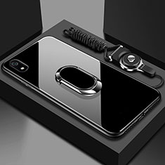 Silikon Schutzhülle Rahmen Tasche Hülle Spiegel mit Magnetisch Fingerring Ständer für Xiaomi Redmi 7A Schwarz
