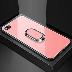 Silikon Schutzhülle Rahmen Tasche Hülle Spiegel mit Magnetisch Fingerring Ständer für Xiaomi Redmi Go Rosegold