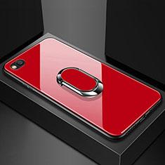 Silikon Schutzhülle Rahmen Tasche Hülle Spiegel mit Magnetisch Fingerring Ständer für Xiaomi Redmi Go Rot