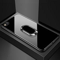 Silikon Schutzhülle Rahmen Tasche Hülle Spiegel mit Magnetisch Fingerring Ständer für Xiaomi Redmi Go Schwarz