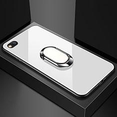 Silikon Schutzhülle Rahmen Tasche Hülle Spiegel mit Magnetisch Fingerring Ständer für Xiaomi Redmi Go Weiß