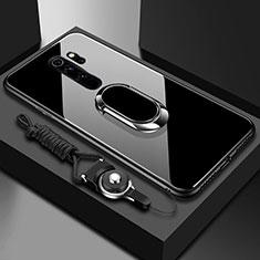 Silikon Schutzhülle Rahmen Tasche Hülle Spiegel mit Magnetisch Fingerring Ständer für Xiaomi Redmi Note 8 Pro Schwarz