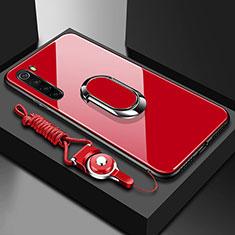Silikon Schutzhülle Rahmen Tasche Hülle Spiegel mit Magnetisch Fingerring Ständer für Xiaomi Redmi Note 8 Rot