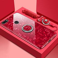 Silikon Schutzhülle Rahmen Tasche Hülle Spiegel mit Magnetisch Fingerring Ständer M01 für Huawei Enjoy 8e Rot