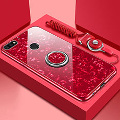 Silikon Schutzhülle Rahmen Tasche Hülle Spiegel mit Magnetisch Fingerring Ständer M01 für Huawei Y6 (2018) Rot