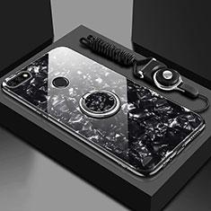 Silikon Schutzhülle Rahmen Tasche Hülle Spiegel mit Magnetisch Fingerring Ständer M01 für Huawei Y6 (2018) Schwarz
