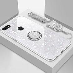 Silikon Schutzhülle Rahmen Tasche Hülle Spiegel mit Magnetisch Fingerring Ständer M01 für Huawei Y6 (2018) Weiß