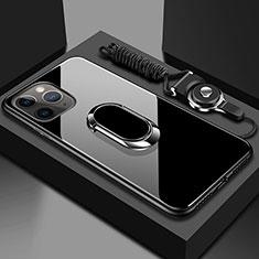 Silikon Schutzhülle Rahmen Tasche Hülle Spiegel mit Magnetisch Fingerring Ständer T01 für Apple iPhone 11 Pro Max Schwarz