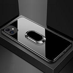 Silikon Schutzhülle Rahmen Tasche Hülle Spiegel mit Magnetisch Fingerring Ständer T01 für Apple iPhone 11 Schwarz