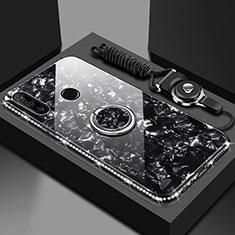 Silikon Schutzhülle Rahmen Tasche Hülle Spiegel mit Magnetisch Fingerring Ständer T01 für Huawei Honor 20i Schwarz