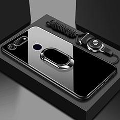 Silikon Schutzhülle Rahmen Tasche Hülle Spiegel mit Magnetisch Fingerring Ständer T01 für Huawei Honor V20 Schwarz