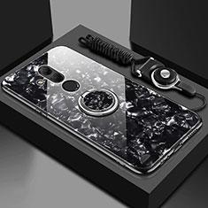 Silikon Schutzhülle Rahmen Tasche Hülle Spiegel mit Magnetisch Fingerring Ständer T01 für Huawei Mate 20 Lite Schwarz