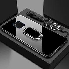 Silikon Schutzhülle Rahmen Tasche Hülle Spiegel mit Magnetisch Fingerring Ständer T01 für Huawei Mate 20 Pro Schwarz