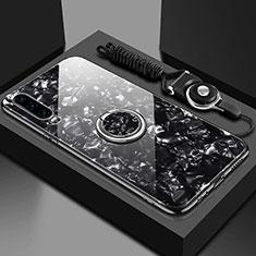 Silikon Schutzhülle Rahmen Tasche Hülle Spiegel mit Magnetisch Fingerring Ständer T01 für Huawei P30 Schwarz
