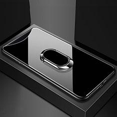 Silikon Schutzhülle Rahmen Tasche Hülle Spiegel mit Magnetisch Fingerring Ständer T01 für Oppo Find X Schwarz