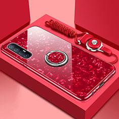 Silikon Schutzhülle Rahmen Tasche Hülle Spiegel mit Magnetisch Fingerring Ständer T01 für Oppo Find X2 Neo Rot