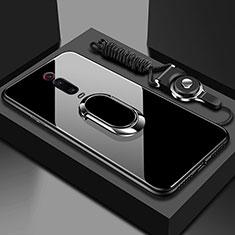 Silikon Schutzhülle Rahmen Tasche Hülle Spiegel mit Magnetisch Fingerring Ständer T01 für Xiaomi Mi 9T Pro Schwarz