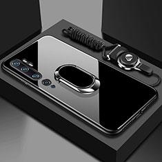 Silikon Schutzhülle Rahmen Tasche Hülle Spiegel mit Magnetisch Fingerring Ständer T01 für Xiaomi Mi Note 10 Schwarz