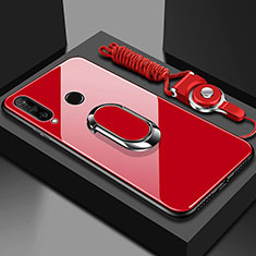 Silikon Schutzhülle Rahmen Tasche Hülle Spiegel mit Magnetisch Fingerring Ständer T02 für Huawei Honor 20 Lite Rot