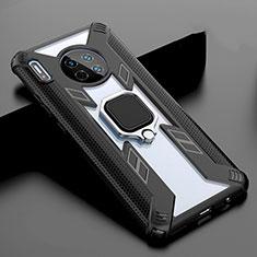 Silikon Schutzhülle Rahmen Tasche Hülle Spiegel mit Magnetisch Fingerring Ständer T02 für Huawei Mate 30 Schwarz