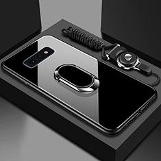 Silikon Schutzhülle Rahmen Tasche Hülle Spiegel mit Magnetisch Fingerring Ständer T02 für Samsung Galaxy S10e Schwarz