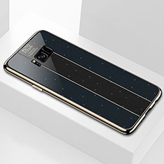 Silikon Schutzhülle Rahmen Tasche Hülle Spiegel S01 für Samsung Galaxy S8 Plus Schwarz
