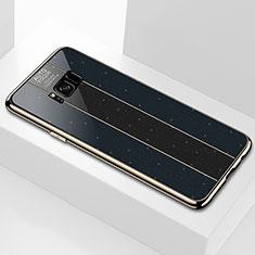 Silikon Schutzhülle Rahmen Tasche Hülle Spiegel S01 für Samsung Galaxy S8 Schwarz