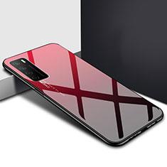 Silikon Schutzhülle Rahmen Tasche Hülle Spiegel T01 für Huawei Honor Play4 5G Rot